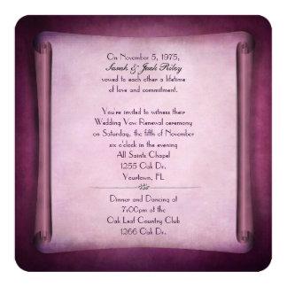 Rolo magenta da renovação do voto de casamento convite quadrado 13.35 x 13.35cm