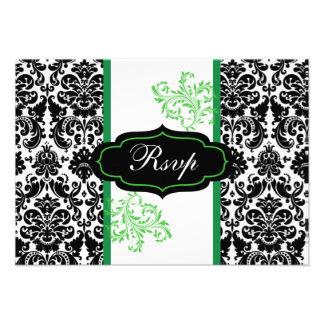 Rolo preto branco verde do damasco que Wedding Convites