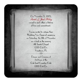 Rolo preto da renovação do voto de casamento convite quadrado 13.35 x 13.35cm