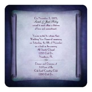 Rolo roxo da renovação do voto de casamento convite quadrado 13.35 x 13.35cm