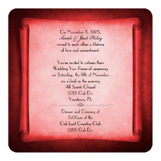 Rolo vermelho da renovação do voto de casamento convite quadrado 13.35 x 13.35cm