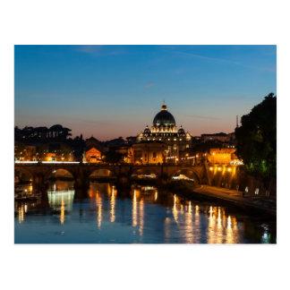 Roma no por do sol do cartão   St Peters   da