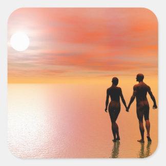Romance do casal - 3D rendem Adesivo Quadrado