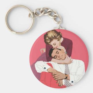 Romance retro cor-de-rosa, amor romântico do chaveiros