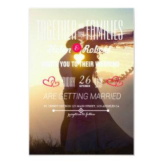 Romance Wedding do por do sol do casal Convite 12.7 X 17.78cm