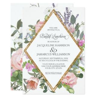 Romântico elegante floral do ouro cor-de-rosa convite 12.7 x 17.78cm