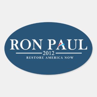 Ron Paul 2012 - Restauração América agora Adesivo Oval