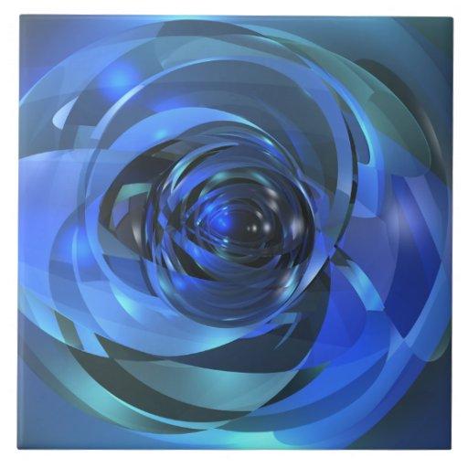 Rondo azul azulejo de cerâmica