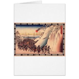 Ronin entra no templo de Sengakuji para pagar a Cartão Comemorativo
