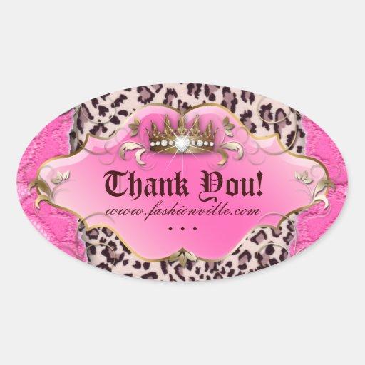 Rosa 3 da coroa da jóia da etiqueta do leopardo da adesivos em formato oval