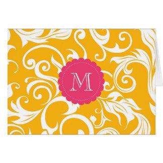 Rosa alaranjado floral do cartão de nota do