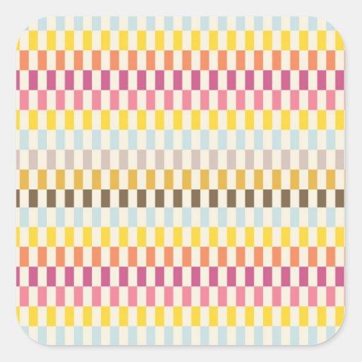 Rosa amarelo alaranjado azul dos azulejos adesivo quadrado