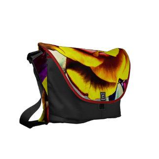 Rosa amarelo artístico colorido bolsas mensageiro