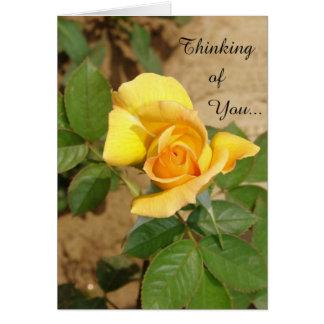 Rosa amarelo bonito que pensa de você Birthdday Cartão