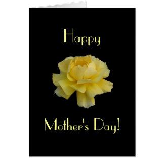 Rosa amarelo do dia das mães cartão comemorativo