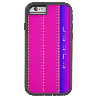 Rosa ao teste padrão azul do diamante do arco-íris capa tough xtreme para iPhone 6