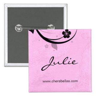 Rosa aquoso do broche do botão do nome de etiqueta botons
