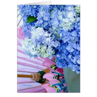 Rosa azul do Hydrangea Cartão Comemorativo