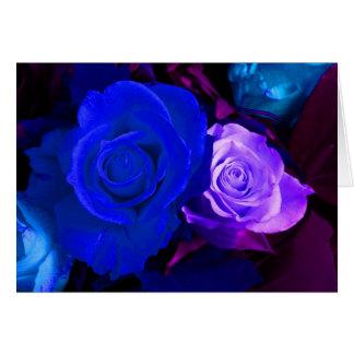 Rosa azul do roxo cartão comemorativo