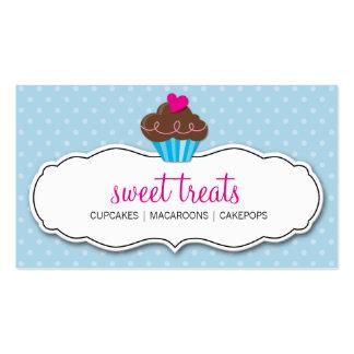 Rosa azul pastel do cupcake corajoso bonito do cartoes de visita