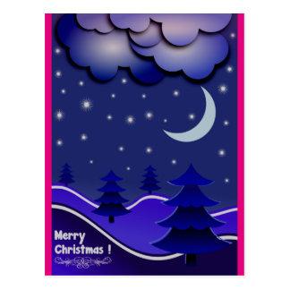 Rosa azul, quente incomum & cartão do Natal do