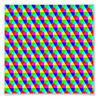 Rosa azul vermelho do verde amarelo dos hexágonos impressão de foto