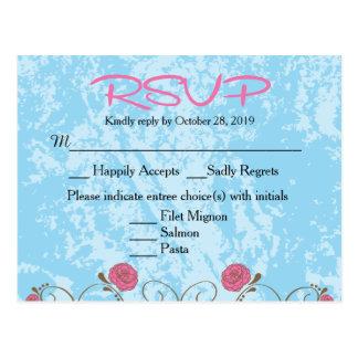 Rosa & Birdcage floral azul que Wedding o cartão Cartao Postal