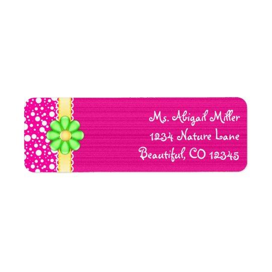 Rosa bonito com etiquetas de endereço verdes da etiqueta endereço de retorno