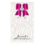 Rosa bonito da jóia do arco da zebra dos cartões cartão de visita