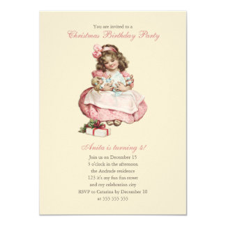 Rosa bonito da menina do vintage da festa de convite 11.30 x 15.87cm