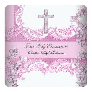 Rosa bonito do laço do comunhão santamente da convite quadrado 13.35 x 13.35cm