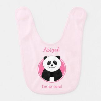 Rosa bonito personalizado Reversible da panda Babador Infantil