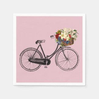 rosa branco da flor da bicicleta da bicicleta dos guardanapo de papel