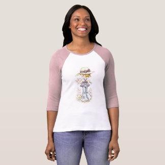 Rosa/branco da luva do ¾ do Raglan de Sarah Kay Camiseta