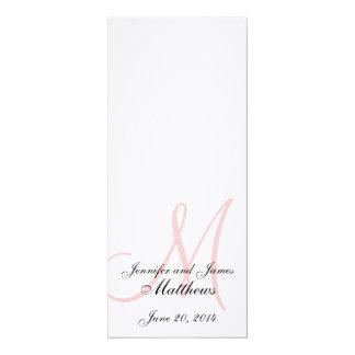 Rosa branco de linho do monograma do programa da convite 10.16 x 23.49cm