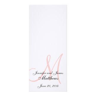 Rosa branco de linho do monograma do programa da i convite personalizados