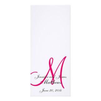 Rosa branco de linho do monograma do programa da i convites personalizado