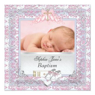 Rosa branco do baptismo do batismo do bebé convite quadrado 13.35 x 13.35cm