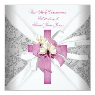 Rosa branco do comunhão santamente da menina convite quadrado 13.35 x 13.35cm