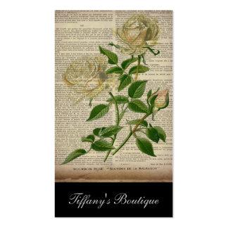 rosa branco feminino da arte botânica romântica da modelos cartões de visitas