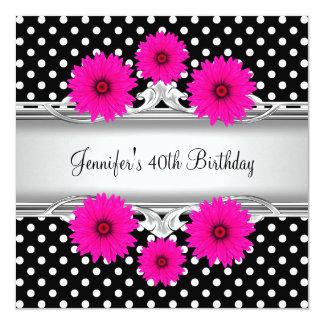 Rosa branco preto elegante do ponto do aniversário convite quadrado 13.35 x 13.35cm