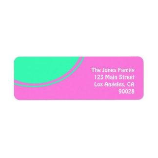 rosa brilhante com círculo verde etiqueta endereço de retorno