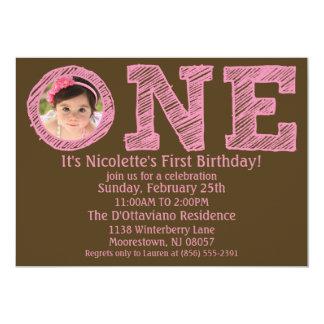 Rosa/Brown a uma primeira festa de aniversário Convite 12.7 X 17.78cm