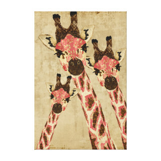 Rosa & canvas de cobre do branco dos girafas impressão em tela