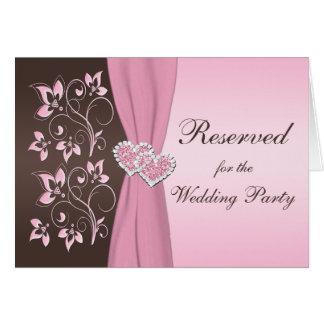 Rosa, cartão juntado floral dos corações de Brown