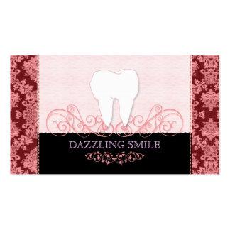 Rosa + Cartões de visitas pretos da odontologia