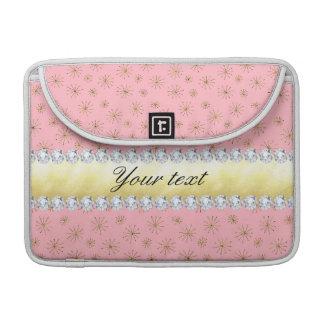 Rosa chique dos flocos de neve do brilho do ouro bolsa para MacBook
