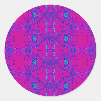 rosa com laço azul adesivos redondos