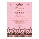 Rosa & convite elegantes do doce 16 do laço de