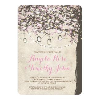 Rosa & convite rústicos do casamento da árvore de